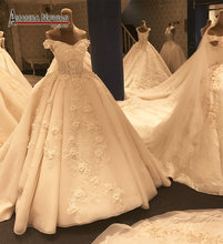 2017 Popular Lace Ball Gown Luxury Wedding Dress Amanda Novias Real Pictures Arabic Style(China)