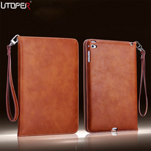 For ipad Air 1 2 Retro Briefcase Hand Belt Holder Leather Case For Apple ipad 5 ipad 6 Auto Wake Up /Sleep Stand Flip Bags Cover(China)