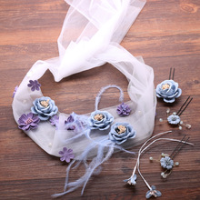 QIARSOYOO Flower Handmade Headbands with Clips Sets Purple Feather Bridal Hairband Girls Hair Accessories 4pcs/set