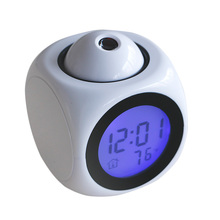 New Multifunctional Voice Talking LCD Time Temp Display Alarm Clock Projection Time Talking Alarm Clock Home Decoration