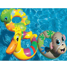 Children's Lovely Cartoon Animal Shaped Opened Inflatable Float Rings Portable Kids' Cute Float Boat Baby Swim Assistant A009(China)