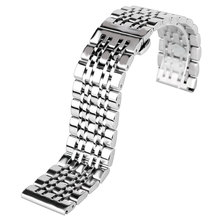 Classic 20/22/24mm Watchband Silver Stainless Steel Metal Watch Band Strap with Push Button Hidden Clasp + 2 Spring Bars(China)