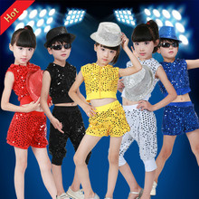 Children Girl And Boy Jazz Dance Costumes Sequined Kids Hip Hop Modern Dance Costumes Performance Stage Clothing Sets