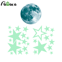 27 pcs/set Removable Moon Stars Glow in the Dark Wall Sticker Night Luminous Kids Room Wall Decal Stickers Home Decor Gift(China)