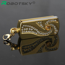 Metal Crystal Gold Stainless steel rotary Key Chain USB 2.0 Flash Drive 4GB 8GB 16GB 32GB Memory Stick Thumb Disk Pen Drives