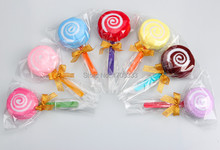 200pcs/lot microfiber cake towels Candy towels Novelty wedding gift Lovely lollipop towel with golden bowknot Free Shipping