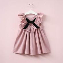 Dusty Pink Baby Girl Dress Ruffle Collar Children Clothes Backless Kids Clothes Summer Girls Dress with Bow Cute Toddler Dress(China)