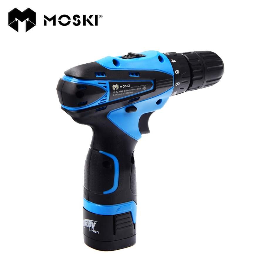 MOSKI ,2017 NEW 16.8V DC New Design Mobile Power Supply Lithium Battery Cordless Drill/Driver Power Tools Electric Drill<br>
