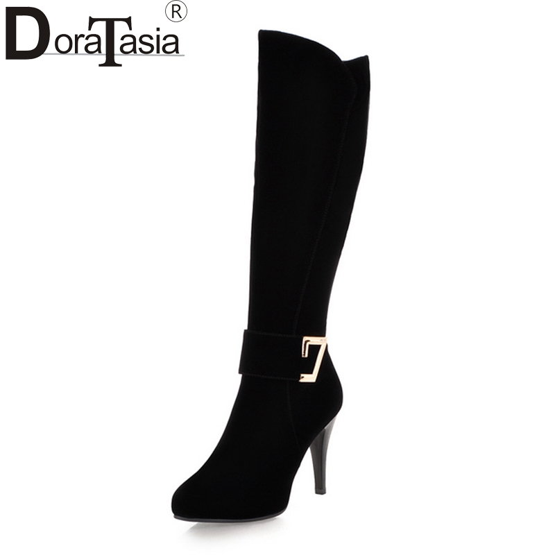 DoraTasia 2018 High Quality Metal Decoration Large Size 33-43 knee-high Boots Fashion High Heels Women Shoes Woman<br>