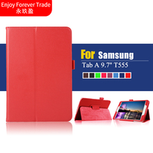 For Samsung Galaxy Tab A 9.7 SM-T550 SM-T551 SM-T555 T550 Case 2 Folding Flip PU Leather Cover Shell Stand Case + film + pen