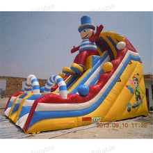 Kids entertainment pvc tarpaulin clown inflatable combo bouncer slide giant commercial inflatable slide for adult