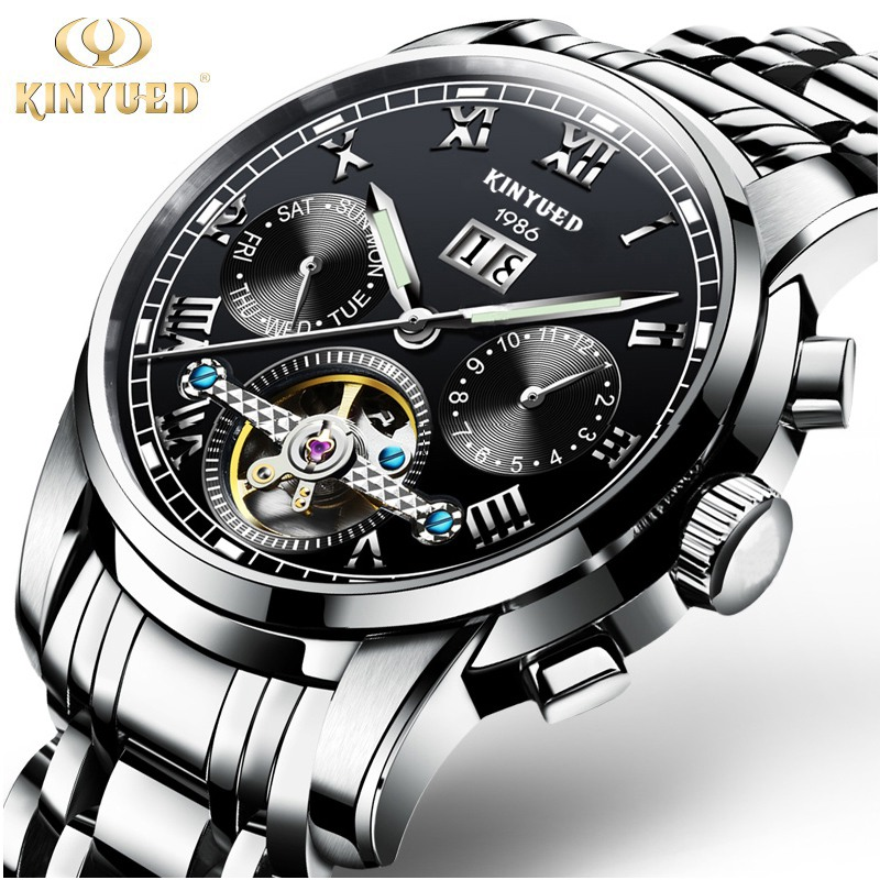 Kinyued Stainless Steel Mechanical Wrist Watches Skeleton Tourbillon Mechanical Watch Automatic Men Golden Edge Blue Dial <br>