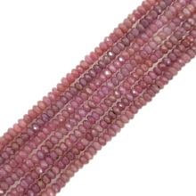 Natural ruby Flat Round Shape Faceted beads about 4x6mm  Approx 39cm DIY Jewelry Making