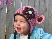Crocheted Baby Hat Hand made Animal Pink / brown monkey Hat Earflap cap 100% cotton Cheapest price!