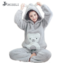JRMISSLI winter pajama women flannel animal pajama sets female sleepwear bear girl coral fleece pijamas mujer For Women Payamas(China)