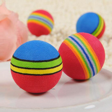 Interesting 10Pcs Super Cute Rainbow Toy Ball Small Dog Cat Pet Eva Toys Golf Practice Balls