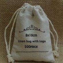Personalized print 8x10cm linen bag with buyer logo 500 piece  The bride and groom name  logo or store name