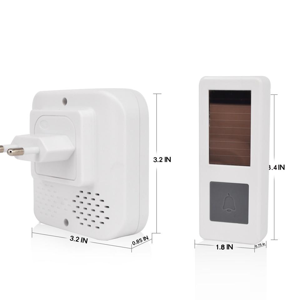 01CTVMAN Wireless Doorbell Solar Powered Push Wireless Doorbell