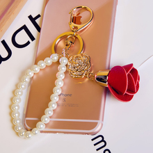 Fashion Accessories Rose Flower Key Chain for Phone , Leather Keychain for women Chaveiro Car Key Ring Holder Jewelry