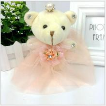 Wholesale Hot 16cm Mini Crown Teddy Bear Doll Ornaments Teddy Bear Doll Cell Phone Pendant, Plush Stuffed Toy 5 colors to choose