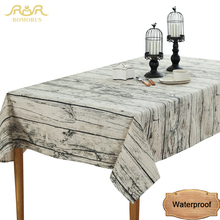 Fashion Design Waterproof Wood Grain Retro Tablecloths Gray Kitchen Dining Tea Table Covers Home Decoration Linen Table Cloths(China)