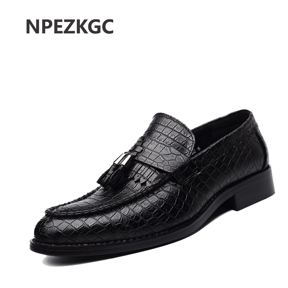 NPEZKGC Handmade Sewing Comfortable Mens Top Quality Genuine Leather Slip-on Round Toe Flats Male Black Casual Oxford Shoes<br>