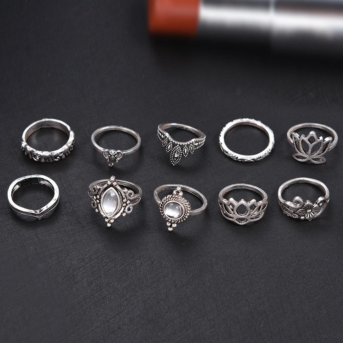 Good Quality 10pcs/Set Vintage Bohemian Ring Set (Less than 1$ each)