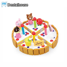 Dental house Wooden baby Kitchen Toys pretend play cutting cake Play Food Kids toys Wood fruit cooking Toy kid birthday gift(China)