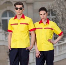 Set of Coat+Pants short sleeve gas station uniform anti-static coat car beauty uniform car service salon coat(China)