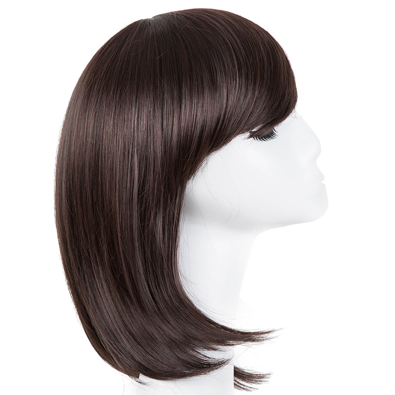 Synthetic None-lacewigs Black Bob Wig Fei-show Synthetic Heat Resistant Fiber Hairpieces Oblique Fringe Bangs Short Wavy Hair Halloween Carnival Hairset Hair Extensions & Wigs