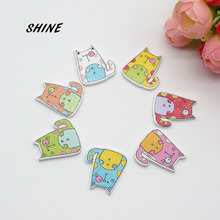 SHINE 12PCs Wooden Sewing Buttons Scrapbooking Fat Cat shape 2 Holes 26X23mm Costura Botones Decorate W10013(China)