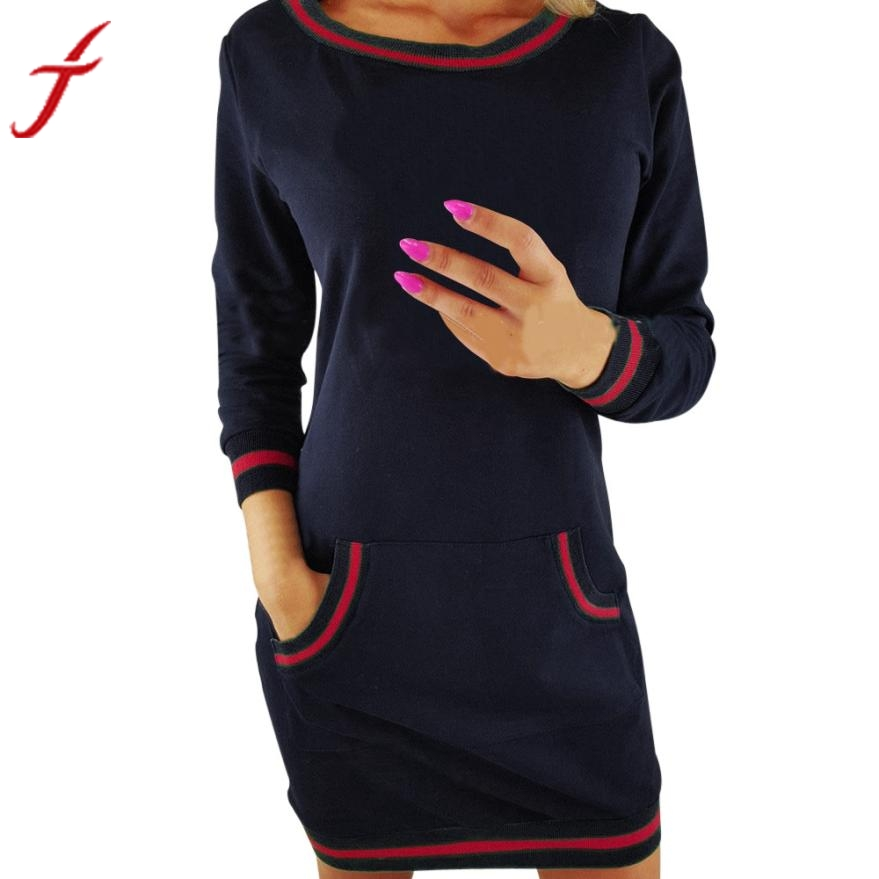 Feitong Loose Autumn Dress Fashion O Neck Long Sleeve Dress Pocket Ladies Casual Bodycon Patchwork Cotton Dress vestidos