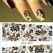 1PC Flower Designs Water Transfer Nail Art Sticker Nails Beauty Wraps Watermark Decals Foils Polish DIY Decorations LASTZ-007