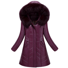 Women's down jacket Slim stylish long section pu leather padded jacket winter warm Large fur collar coat plus size L-8XL Cotton(China)