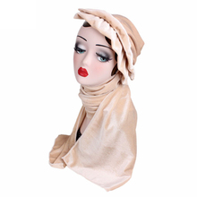 Nice Women soft velvet Turban With Scarf luxury muslim hijab Head Wrap Extra Long Tube Headwrap Scarf Tie(China)