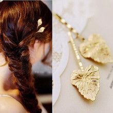 Mini order $ 1) Korean fashion wave shape of the golden leaf clip headdress CJWD84(China)