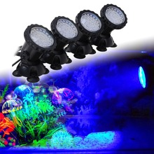 Aquarium Led Lighting 1 Set 4 Lights RGB 36 Leds 6W Fish Tank Underwater Spot Light with 24 Key IR Remote Control EU/UK/US Plug(China)