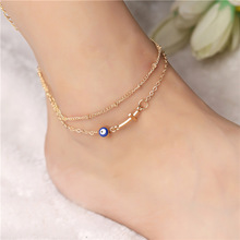 Retro Punk 2017 New Fashion Wild Anklets Golden Summer Cross Cat Eye Street Shot Multi-storey Lady Anklet Factory Spot Wholesale(China)