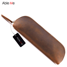 Handmade Leather Women Cosmetic Bag Multifunction Men Pencil Case Gift For Young Men And Women Mini Makeup Bag Vintage Style(China)