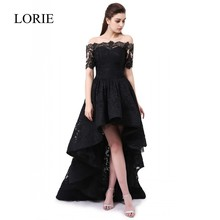Formal Black Lace Evening Gowns Dresses 2017 Off The Shoulder Boat Neck Elegant Arabic Women Prom Party Dress Vestido de noche