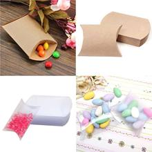 50pcs Kraft Paper Pillow Favor Boxes Cute Anti-Scratch Paper Gift Box Wedding Birthday Party Favors Supply Gift Candy Boxes(China)