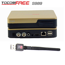 Digital satellite receiver Tocomfree s989 with iks sks free and support Iptv +1 pcs wifi antenna