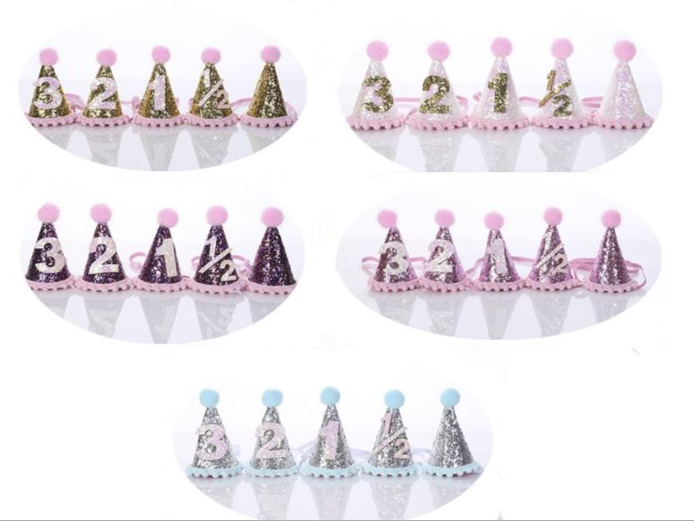 Free shipping 50pcs Children Hair Decorate First Birthday Party Hats Baby Hair Band Shoot Prop Princess crown Girl Birthday