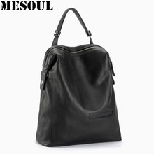 Black Fashion Backpack Women Backpacks Real Leather School Bags For Girls Travel Shoulder Bag Female High Quality Daily Daypacks(China)