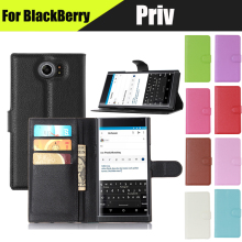 JURCHEN Fashion Stand Card Luxury Leather Flip Housing Cover Case For BlackBerry Priv Phone Cases Wholesale In Stock(China)