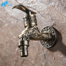 Doodii Carved Wall Mount Zinc Alloy Antique Bronze Bibcock,Decorative Outdoor Garden Faucet Washing Machine Faucet Small tap(China)