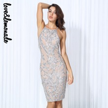 Love&Lemonade Sexy Silver Flower Vines Sequined Nude Color Lining Party Dress TB 10176