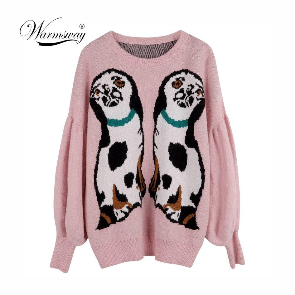 Pull Femme 2018 Winter Autumn Oversized Knitted Sweater Women Lantern Sleeve Dog Animal Basic Thicken Pullovers C-435