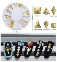 120Pcs/Wheel Square Nail Art Rivet Decals Gold&Silver Nail Studs Rhinestones 3D Nail Art Decorations Stickers Nails Accesories