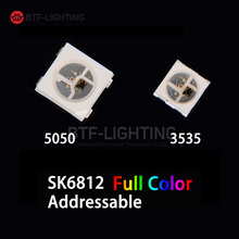 SK6812 5050/3535 RGB SMD (similar with WS2812B) Individually Addressable Digital Full Color LED Chip Pixels DC5V 10~1000pcs(China)